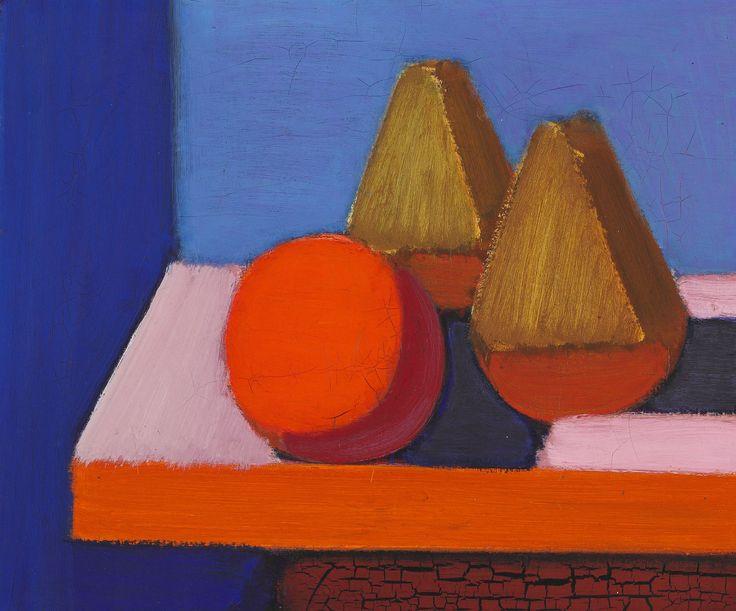854/524 - Vilhelm Lundstrøm: Opstilling med appelsin og to grønne frugter på et bord, ca. 1935. Sign. VL på bagsiden. Olie på lærred. 46 x 55.