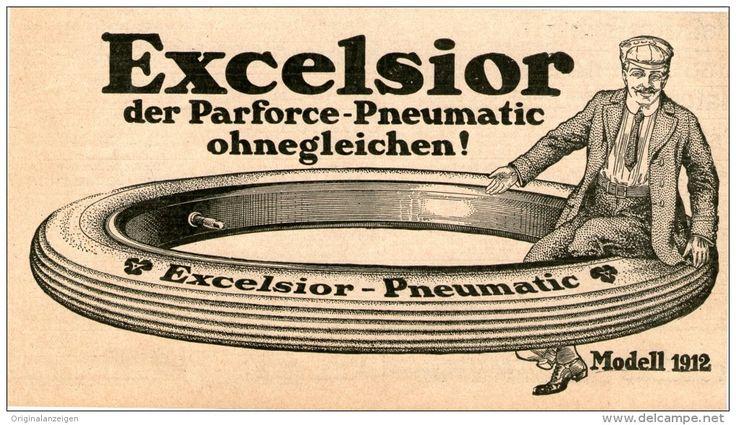 Original-Werbung/Inserat/ Anzeige 1912 - EXCELSIOR PNEUMATIC / REIFEN ca. 180 x 90 mm