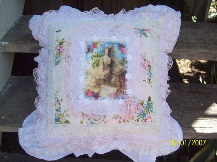 Shabby Chic Marie Antoinette pillow makeover by Corinea Neil.