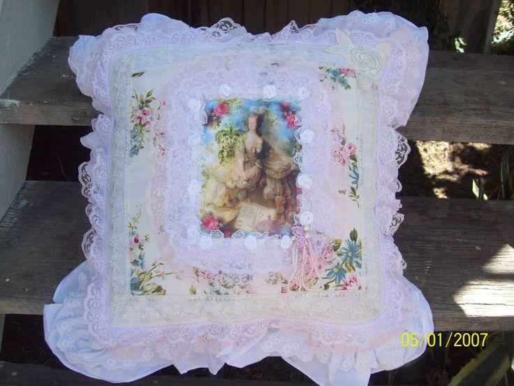 Shabby Chic Marie Antoinette pillow makeover by Corinea Neil.