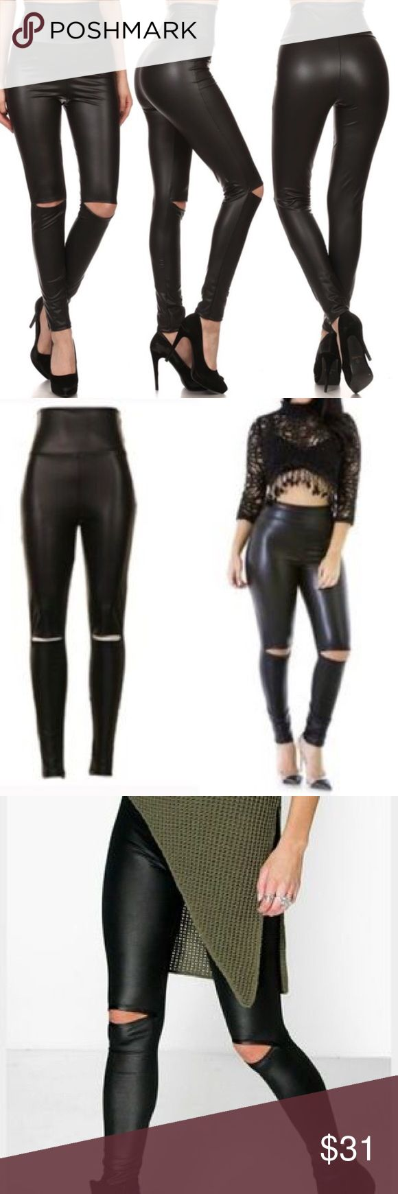🆕 High Waisted Cutout Leather Leggings Look your best with these amazing leather Cutout leggings. ❤ Pants Leggings