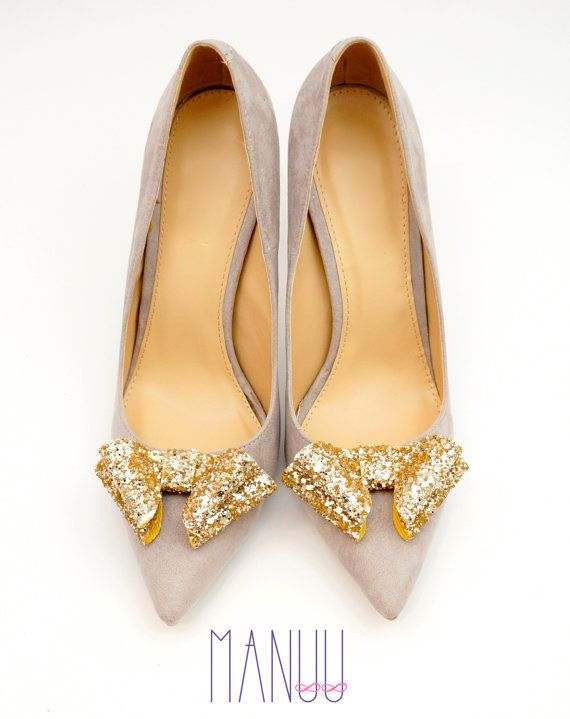 Gold glitter shoe clips bow shoe clips Manuu by ManuuDesigns