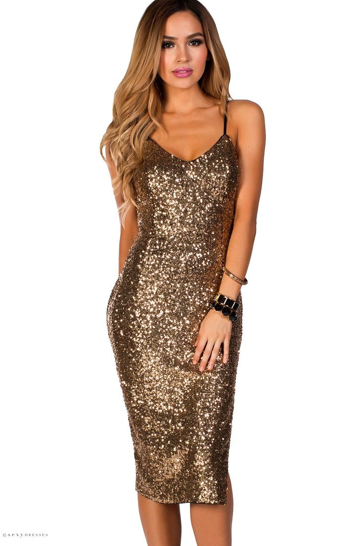 Midi Length Strappy Fitted Gold Sequin Dress