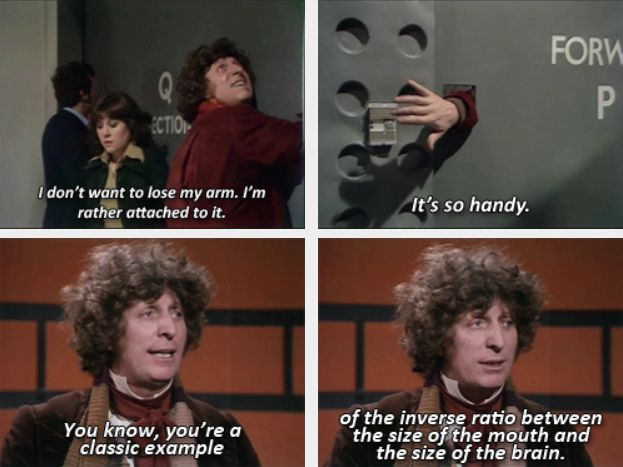 The Fourth Doctor. ...why does it look like 10 is behind them..? I should probably start watching the Classics