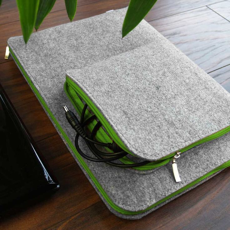 MACBOOK LAPTOP SLEEVE Felt Notebook Cover with Green Zipper and Charger Pocket All Sizes Avaliable by PurolDesignBags on Etsy #macbook #sleeve #laptop #cover #felt #green #handmade #gray #felt