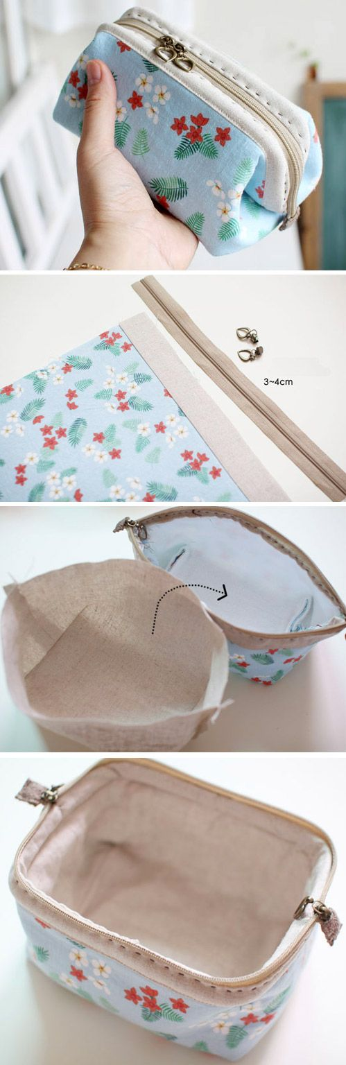 Cosmetic Bag Tutorial, Bags Tute, Cosmetics Bags Tutorials, Diy Makeup Bags Tutorials http://www.handmadiya.com/2015/10/cosmetic-bags-zipper-makeup-bag.html: