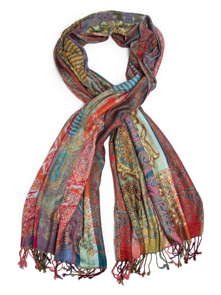 Jivala Scarf, Woven Reversible Striped Pashmina Scarf, hand made in India