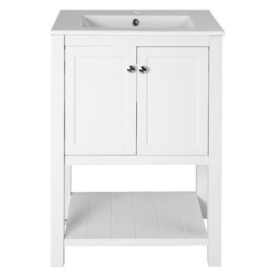 This Jannie 24  Single Bathroom Vanity set fits with almost any aesthetic   Featuring a practical manufactured wood frame with solid poplar veneers the. 245 best Bathroom Vanities images on Pinterest