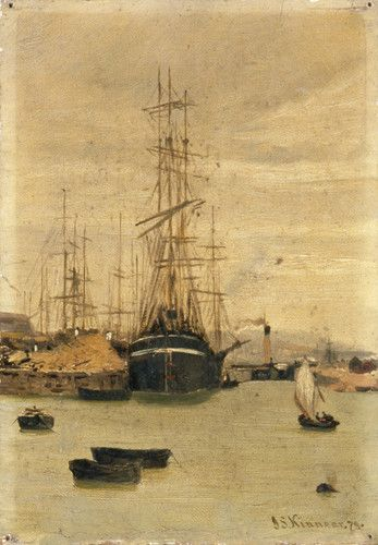 "Oil painting from the Fine Art collection. ""Shipping"" by James Kinnear"" showing a view of the front of a large ship with masts, other ships and the docklands are visible behind. Several small boats are moored in the water in the foreground. 1879."