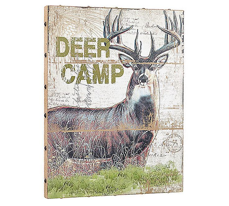 DEER CAMP Hunter Hunting camo Canvas Picture Wall Art Cabin Lodge Burlap…