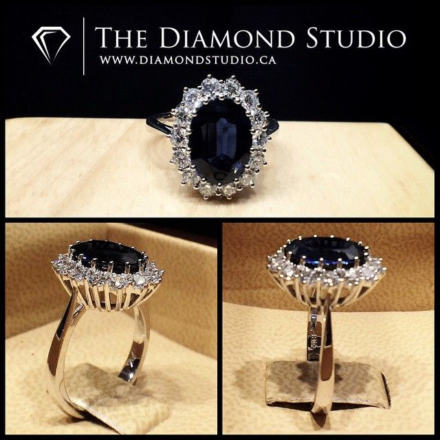 The centre oval sapphire was a nice rich royal blue and weighed 2.81ct. And it's sits on a flower shaped prong set halo. The thin tapered shank reaches the beautiful wire gallery. #diamond #diamonds #wedding #weddings #engagement #ring #rings #bride #brides #jewellery #jewelry #halo #oval #sapphire #blue #princess #diana #diamondboi