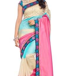 Buy Pink printed art silk saree with blouse south-indian-saree online