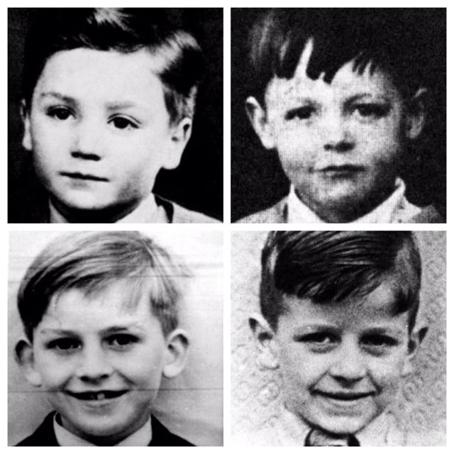 The Beatles as tots:  From left to right: John, Paul, George, and Ringo
