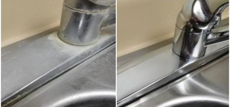 If hard water stains are ruining the look of your kitchen sink, then you'll want to be in on this home remedy trick discovered by Crouton Crackerjacks.