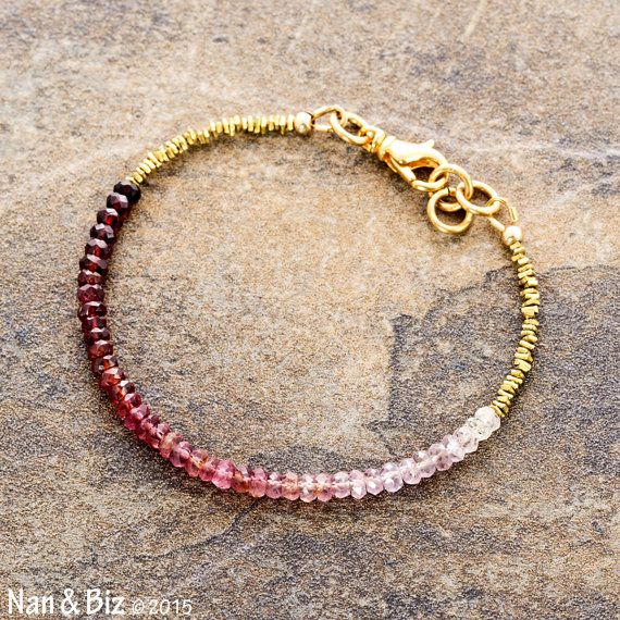 Ombre white to marsala red spinel bracelet, Karen Hill Tribe brass, minimal bracelet, stackable bracelet, gemstone beaded bracelet by NanandBiz