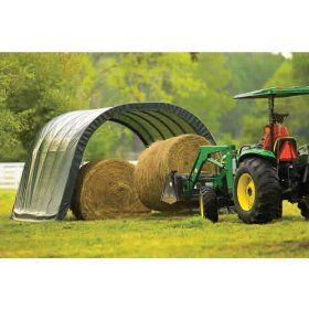 ShelterLogic 12 x 24 x 10- Feet Round Style Run-In Shelter, Green Cover $594.99