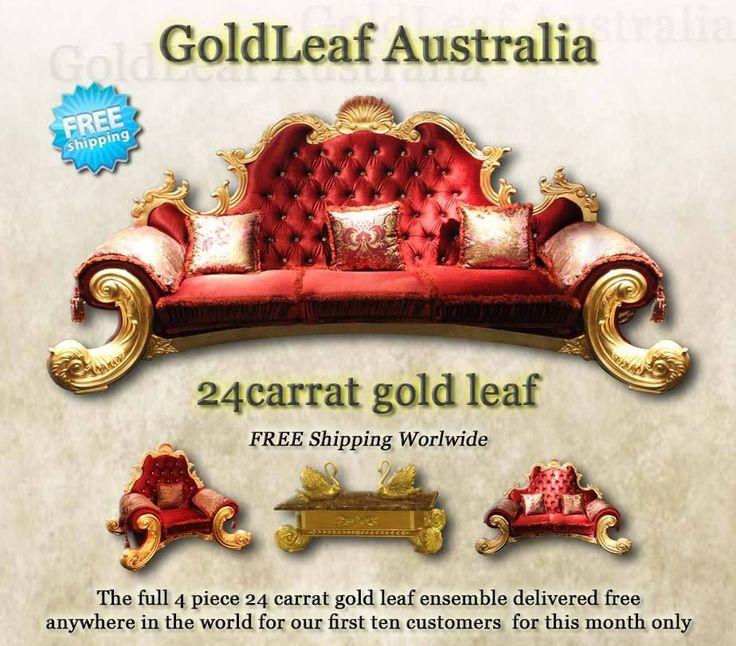 REDUCED FROM $49,000 to $12,000 goldleaf furniture 3 seat 2 seat 1 seat coffee tab 24 carat