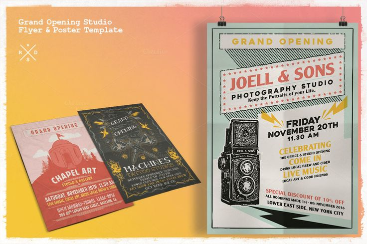 Grand Opening Studio Flyer & Poster by Rooms Design Shop on @creativemarket