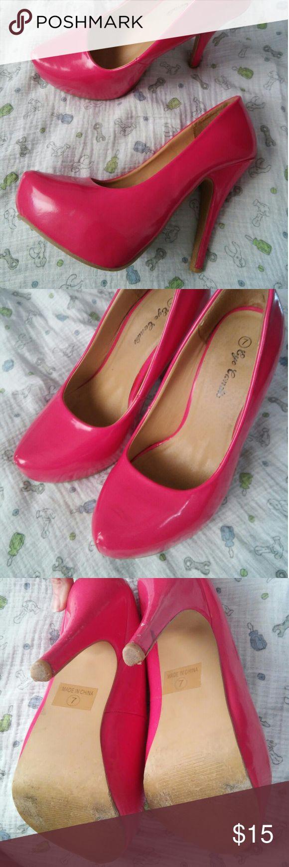 Hotttt pink heels Very sexy high heels slightly worn as seen in pics. Still great shoes! Shoes Heels