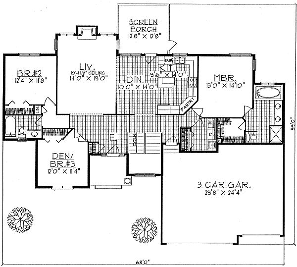 Plan 8909AH: Traditional Ranch Home Plan