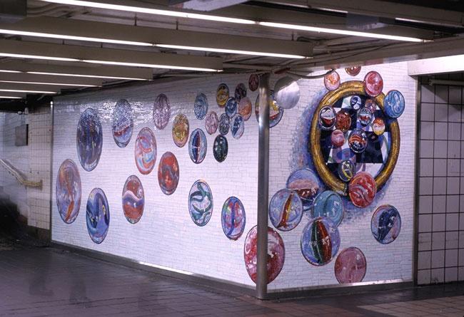 Lisa Dinhofer, Mosaic Art, NYC MTA Subway Station at Times SquareMosaics Boards, Mosaics Art, Time Squares, Lisa Dinhof, Gritty Cities, Glasses Mosaics, Hashimotos Portfolio, Depot Street, Secret Mosaics