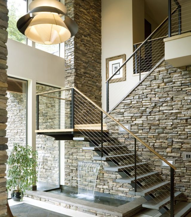 Stone wall - great style for entry/long hall