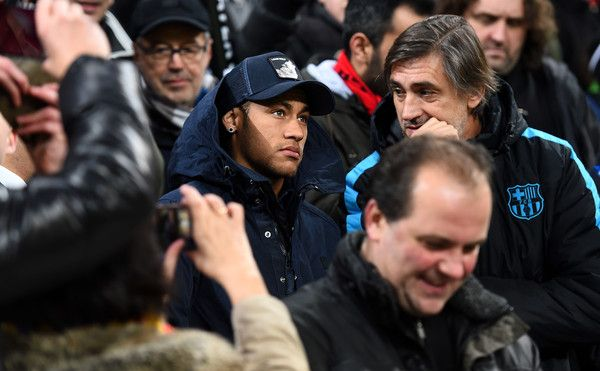 Neymar of Barcelona looks on from the stand during the UEFA Champions League Group E match between Bayer 04 Leverkusen and FC Barcelona at BayArena on December 9, 2015 in Leverkusen, Germany.
