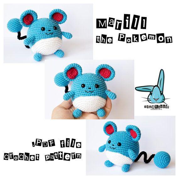 Marill the Pokemon -amigurumi crochet pattern. Inspired by Pokemon manga and Pokemon Go app https://www.etsy.com/listing/468603009/marill-the-pokemon-pokemon-go-and