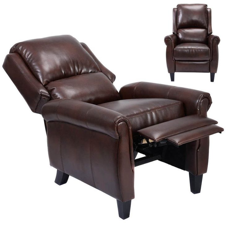 Leather Recliner Accent Chair w/ Leg Rests Push Back Living Room Home Furniture #1