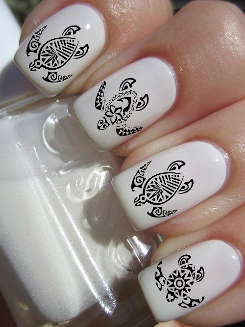 Tribal Turtle Nail Decals by PineGalaxy on Etsy, $4.50