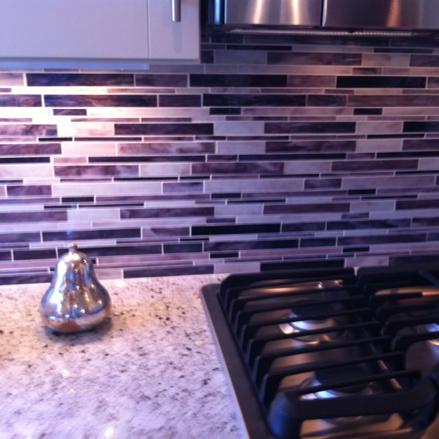Purple back-splash for kitchen :)
