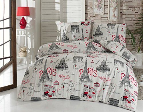 Bedding Set Paris Black and White with Duvet Cover, 100% ...