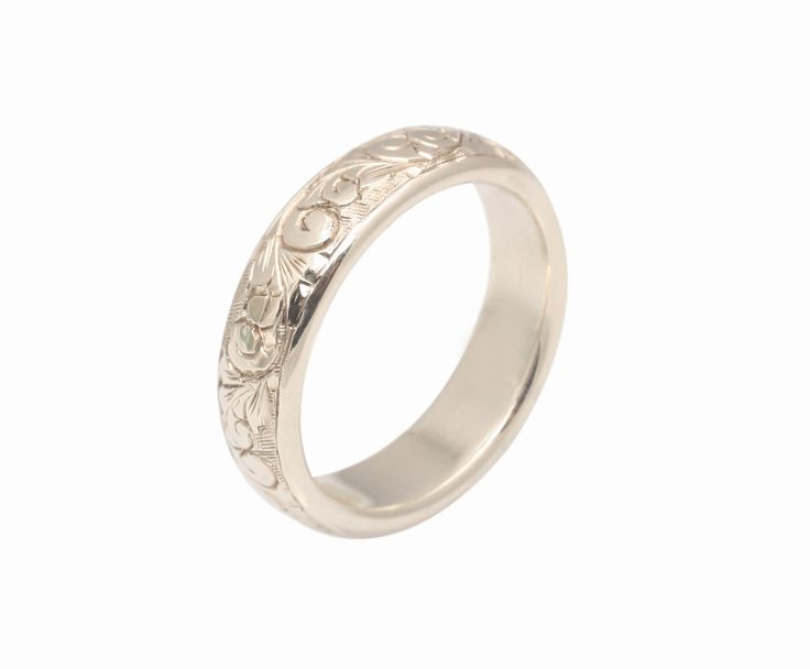 Hand Engraved White Gold Ring | Love and Hatred