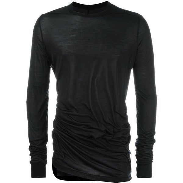 Rick Owens long sleeve T-shirt ($510) ❤ liked on Polyvore featuring men's fashion, men's clothing, men's shirts, men's t-shirts, black, mens long sleeve shirts, mens silk t shirts, mens long t shirts, mens silk shirts and mens long shirts