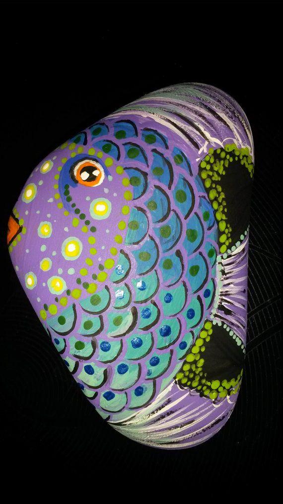 Angel fish painted rock