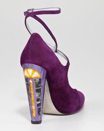 Mother-of-Pearl Heel Ankle-Wrap Pump in Hyacinth