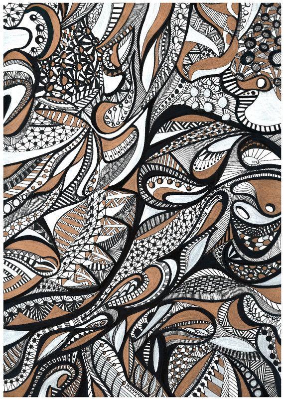 Print of Original Ink Illustration  Free Forms I by ArtbyAnaSilva