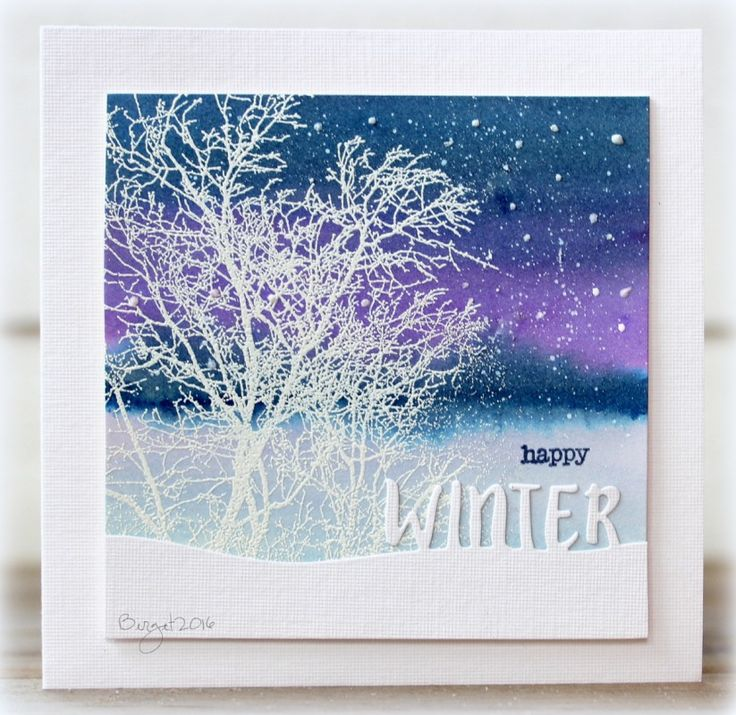 My card for the color challenge! We got our first snow here yesterday! Gives me some light and Christmas feeling! :)