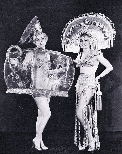 ♕ Vintage Costume Variations ♕  Ziegfeld girls. The one on the left looks like a tea pot!