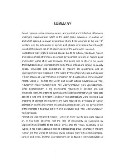 Summary-Expressionism in Contemporary Turkish Painting -Göknil Gümüş Master Thesis 2005