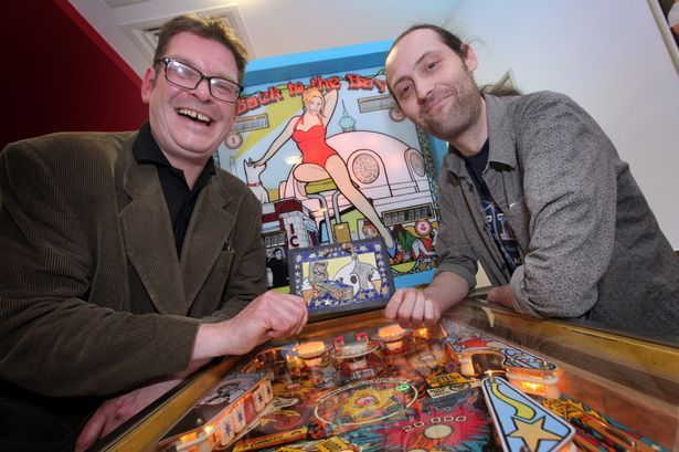 Winner of the pinball competition at Whitley Bay Playhouse, Matt Morrison from Whitley Bay, right with Assistant Director of the film festival Simon Fitzpatrick