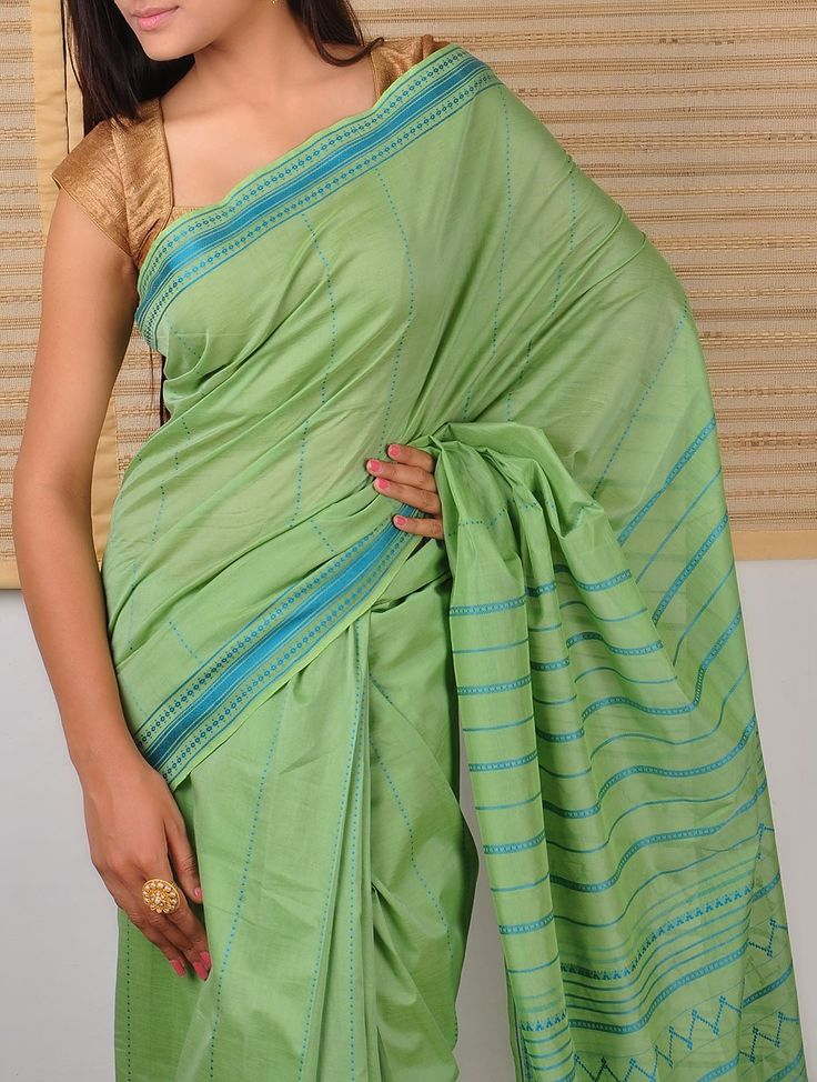 Green Saree with Stripes