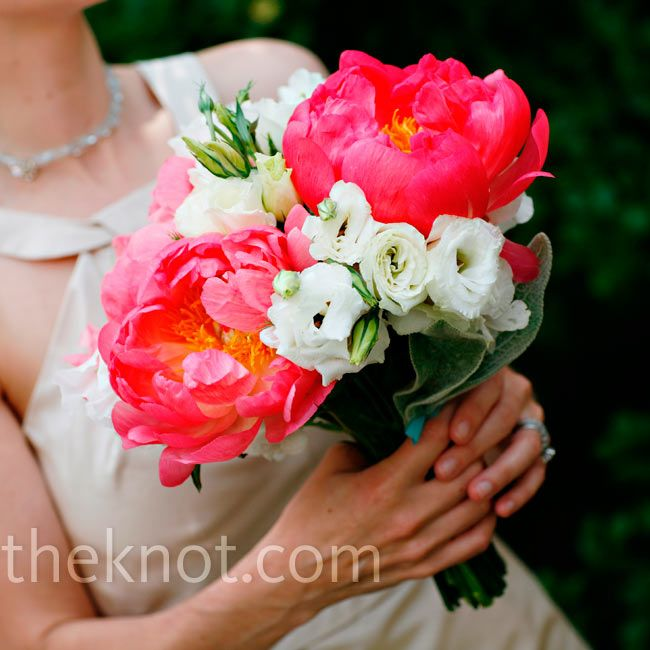 Bright-coral peonies with lisianthus, sweet peas, ranunculus, phlox and lamb's ear bridesmaid bouquets // Marie Labbancz Photography // Bouquet:  TableArt // http://www.theknot.com/weddings/album/an-outdoor-wedding-in-chestnut-hill-pa-85765