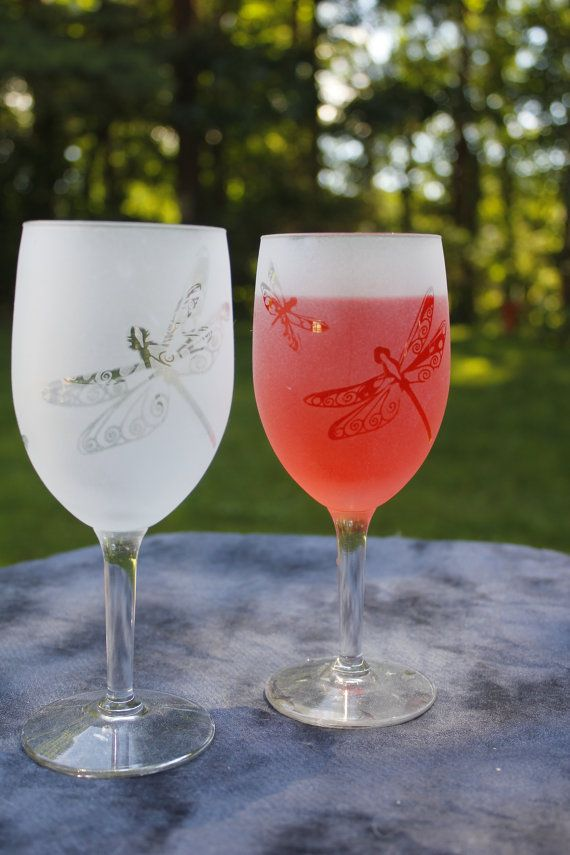 Dragonfly Frosted Etched Wine Glasses Set Of 2 by DeeLuxDesigns, $15.95