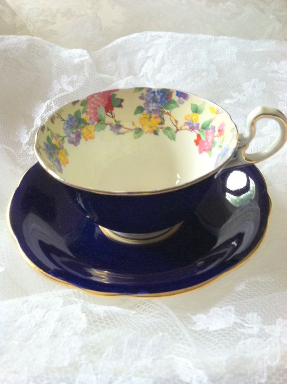 Antique Aynsley Cobalt Blue Tea Cup and by MariasFarmhouse on Etsy, $65.00