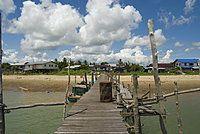 Jetty to Balawai Village on the banks of the Rejang River, Sarakei district, Sibu, Sarawak, Malaysian Borneo, Malaysia, Southeast Asia, Asia