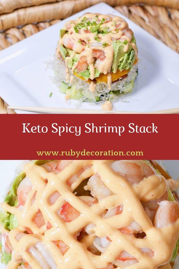Keto Spicy Shrimp Stack #keto #spicy #shrimp