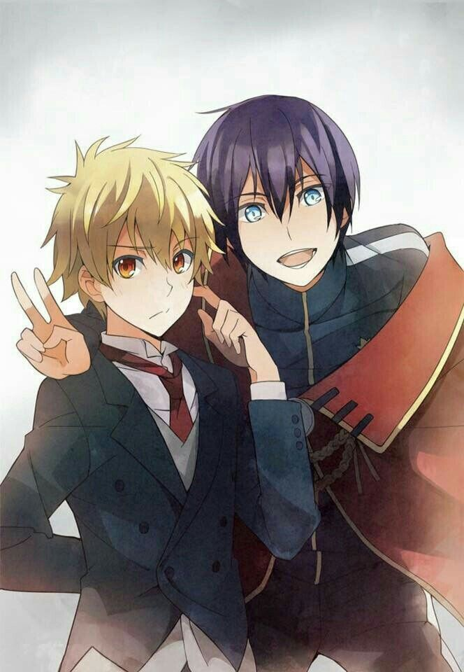 Yato, Yukine, suit, outfits, cool, peace sign; Noragami