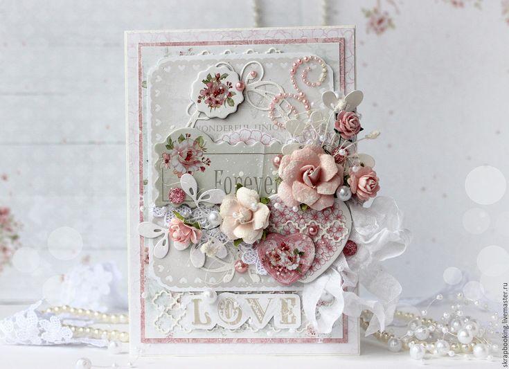 "Купить Романтичная открытка ""Forever love"" - бледно-розовый, открытка, открытка ручной, открытка на заказ"