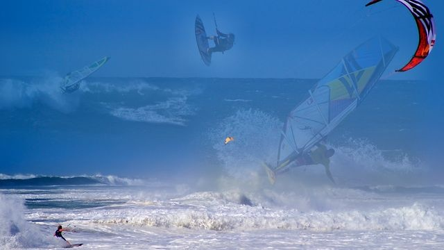 """Robby Naish & Co in Hossegor by Nautimages. Session of the 19/09/12 In Hossegor. A magic afternoon with The King ROBBY NAISH, J-B CASTE, JULIEN TABOULET, CHARLES VANDEMELEUBROUCKE (""""Charliboy"""") and LAURENT JUAN."""